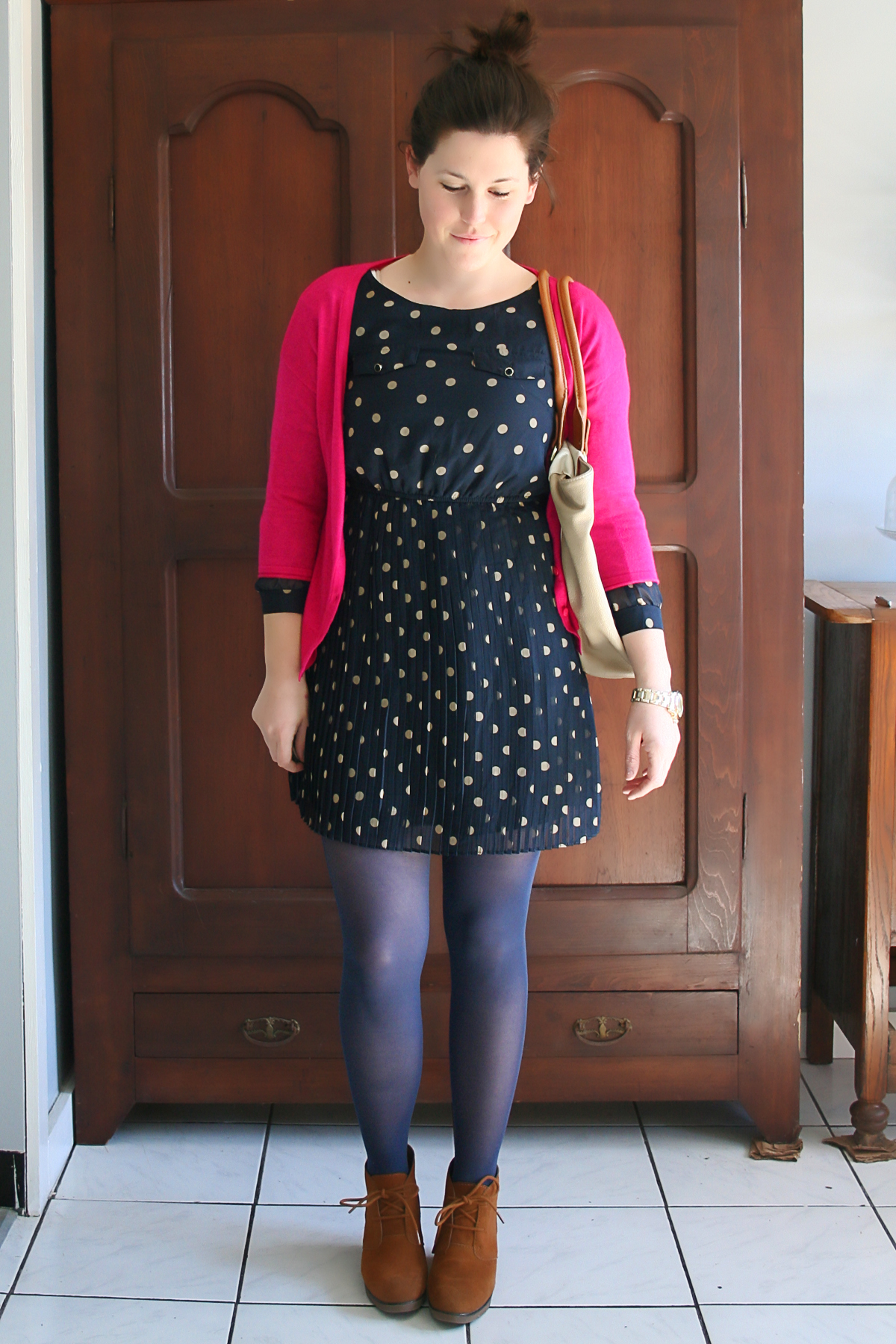 dark pink with navy and polka dots