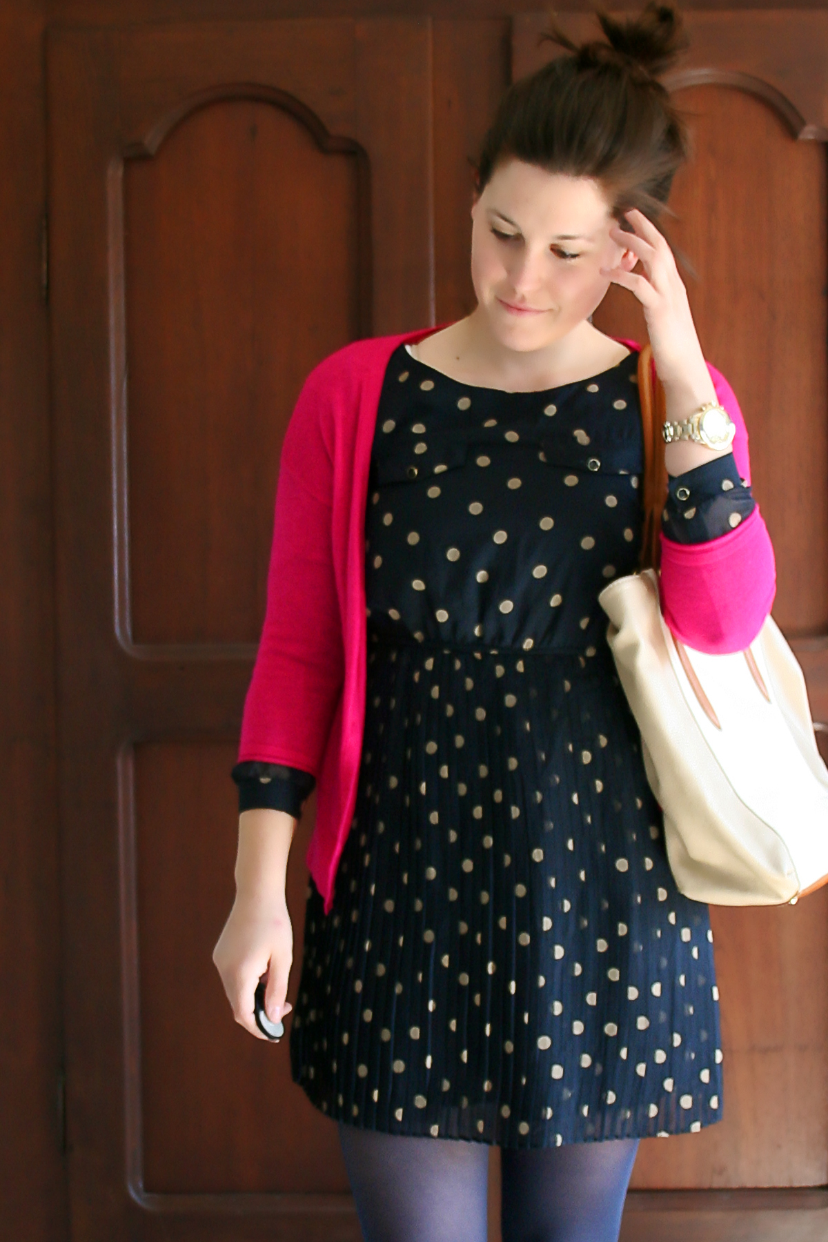 dark pink and navy with polka dots