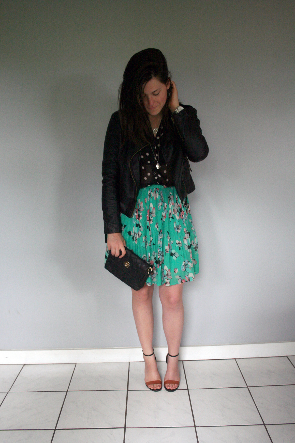 polka dots, floral, leather jacket and a clutch