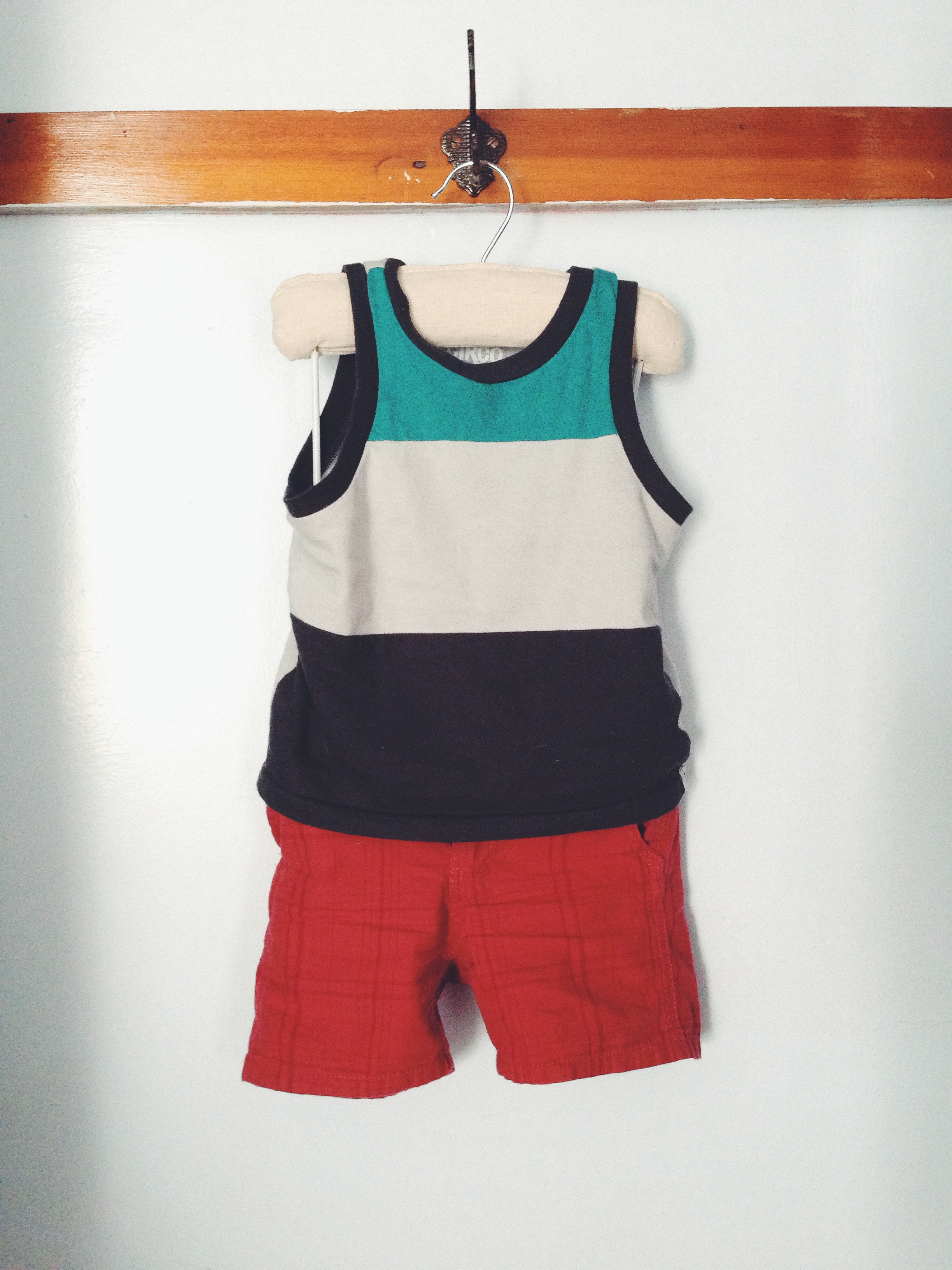color block tank, red shorts