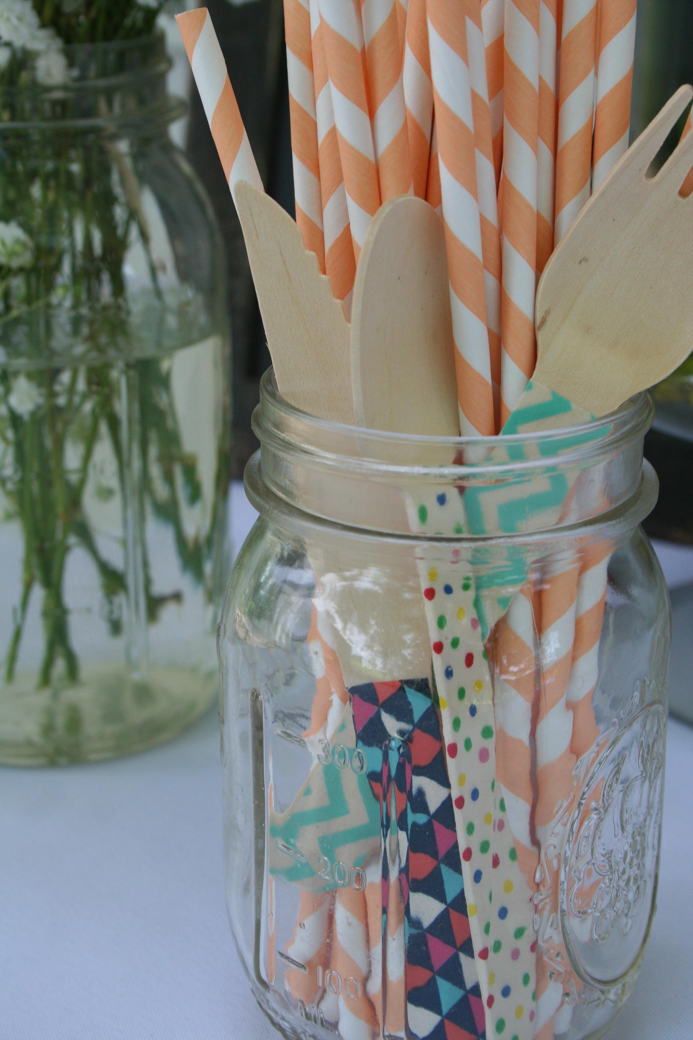 DIY washi embellished bamboo cutlery |thelovelylauralife.com