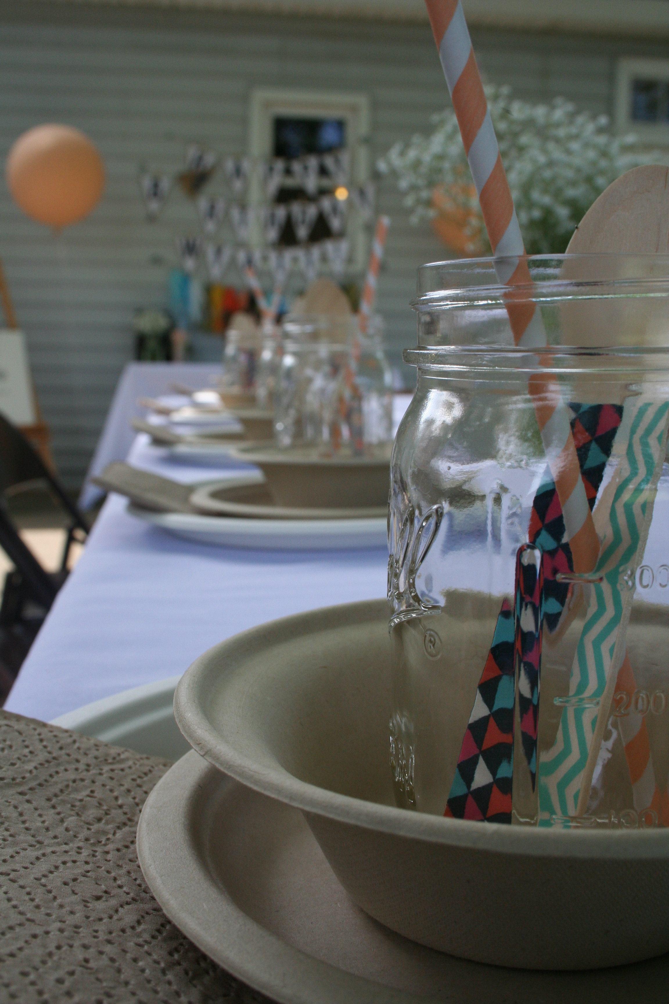 Washi embellished cutlery, fun paper straws and mason jars | thelovelylauralife.com