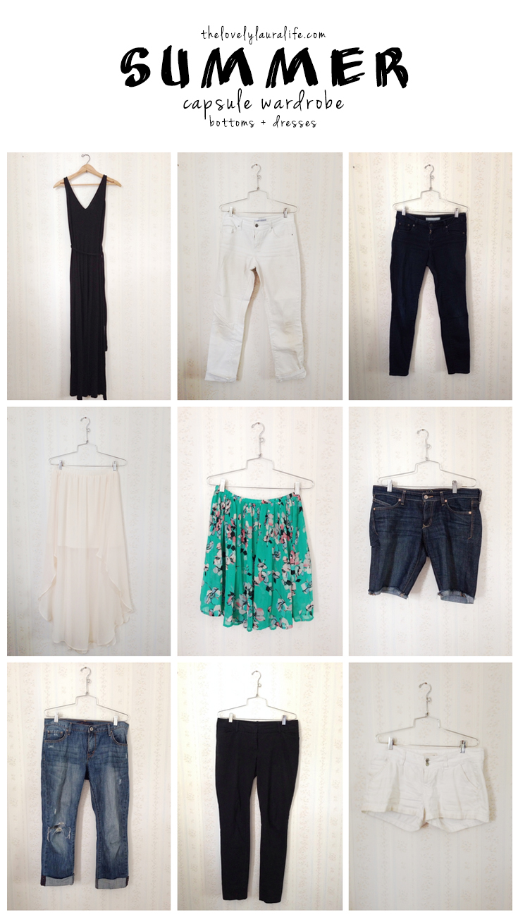 summer capsule wardrobe bottoms and dresses