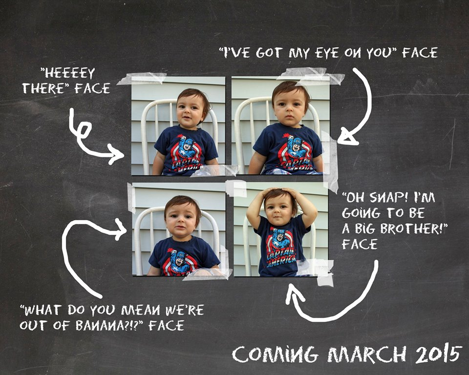Baby number 2 announcement with big brother or sis!