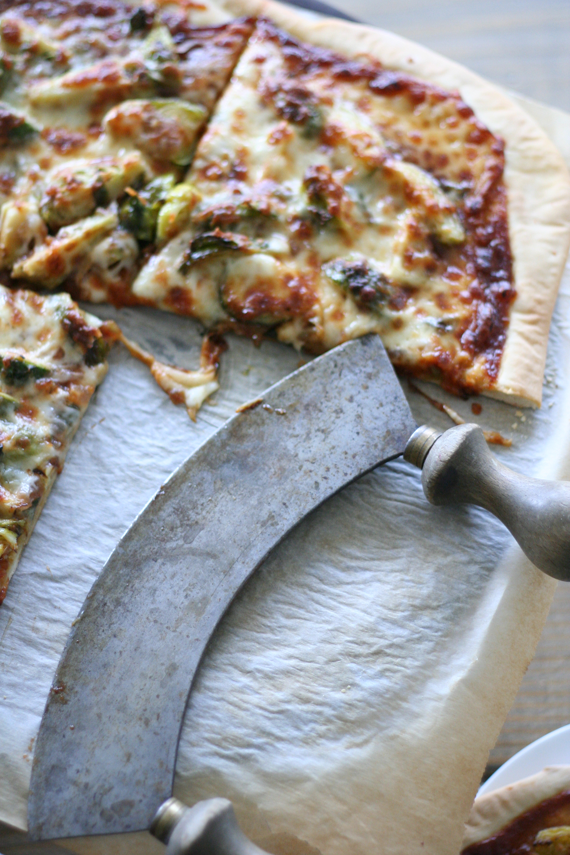 bbq brussel sprout pizza via a beautiful mess
