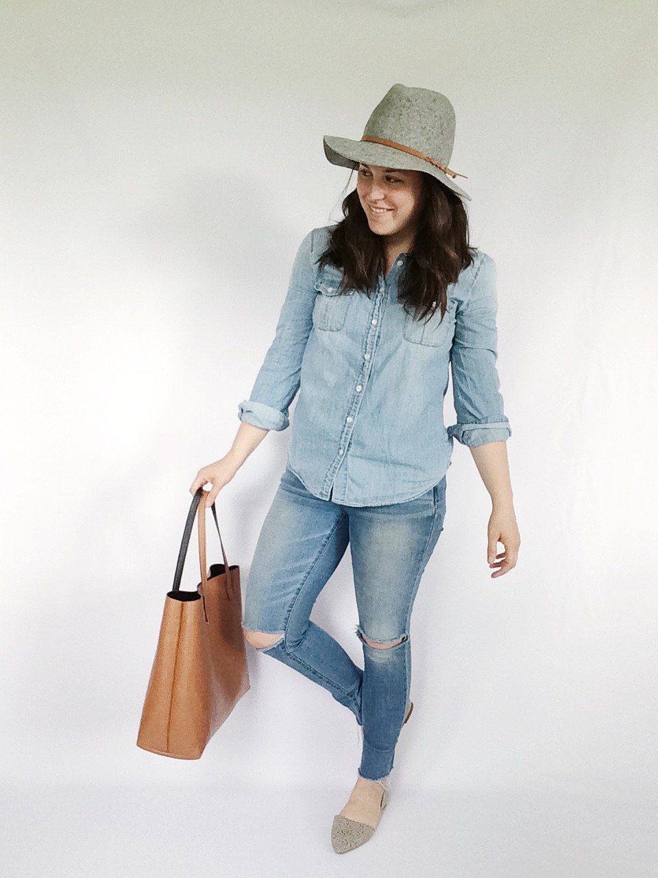 Use 10 pieces to create 10 unique everyday looks via thelovelylauralife.com | chambray, ripped denim, patterned flats + panama hat