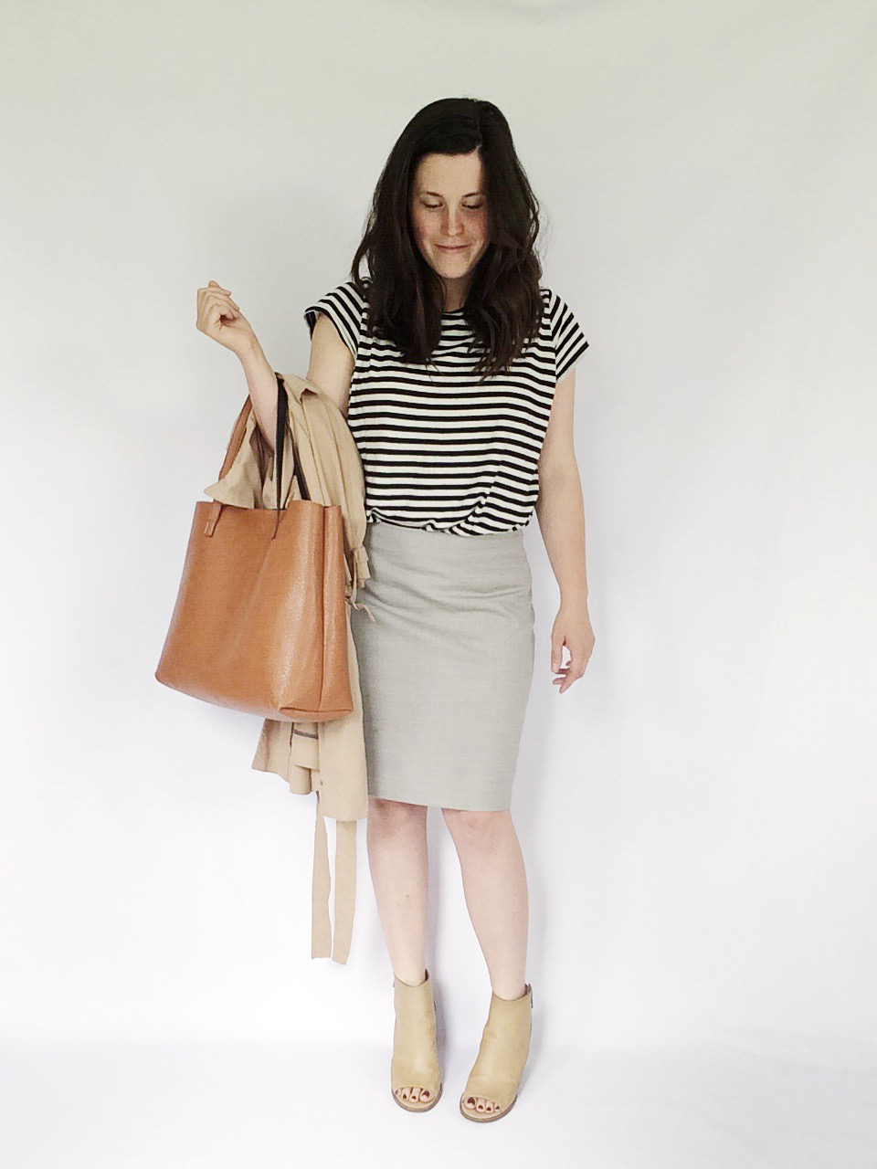 Use 10 pieces to create 10 unique everyday looks via thelovelylauralife.com | striped tee, pencil skirt and peep toe booties