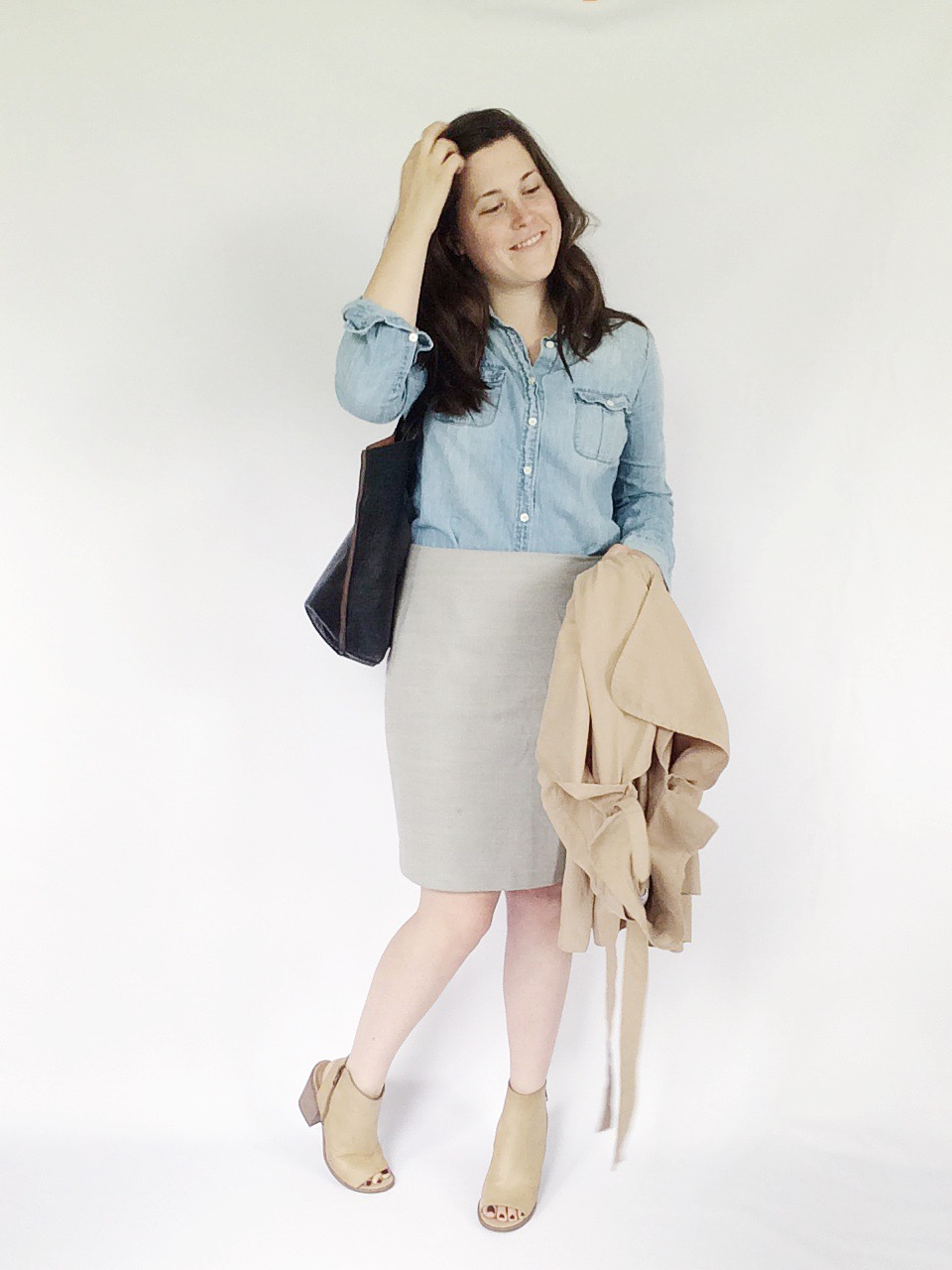 Use 10 pieces to create 10 unique everyday looks via thelovelylauralife.com | chambray, pencil skirt + peep toe bootie