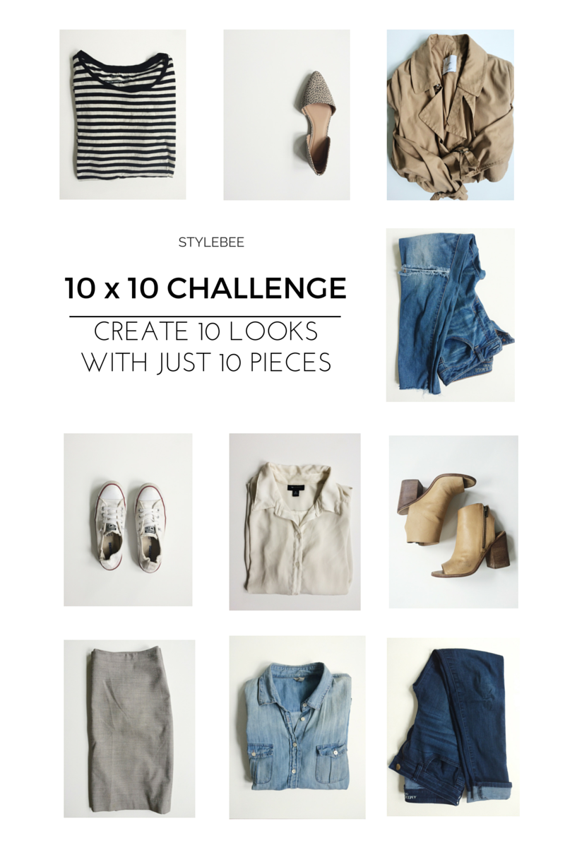 Use just 10 pieces to create 10 unique looks via thelovelylauralife.com