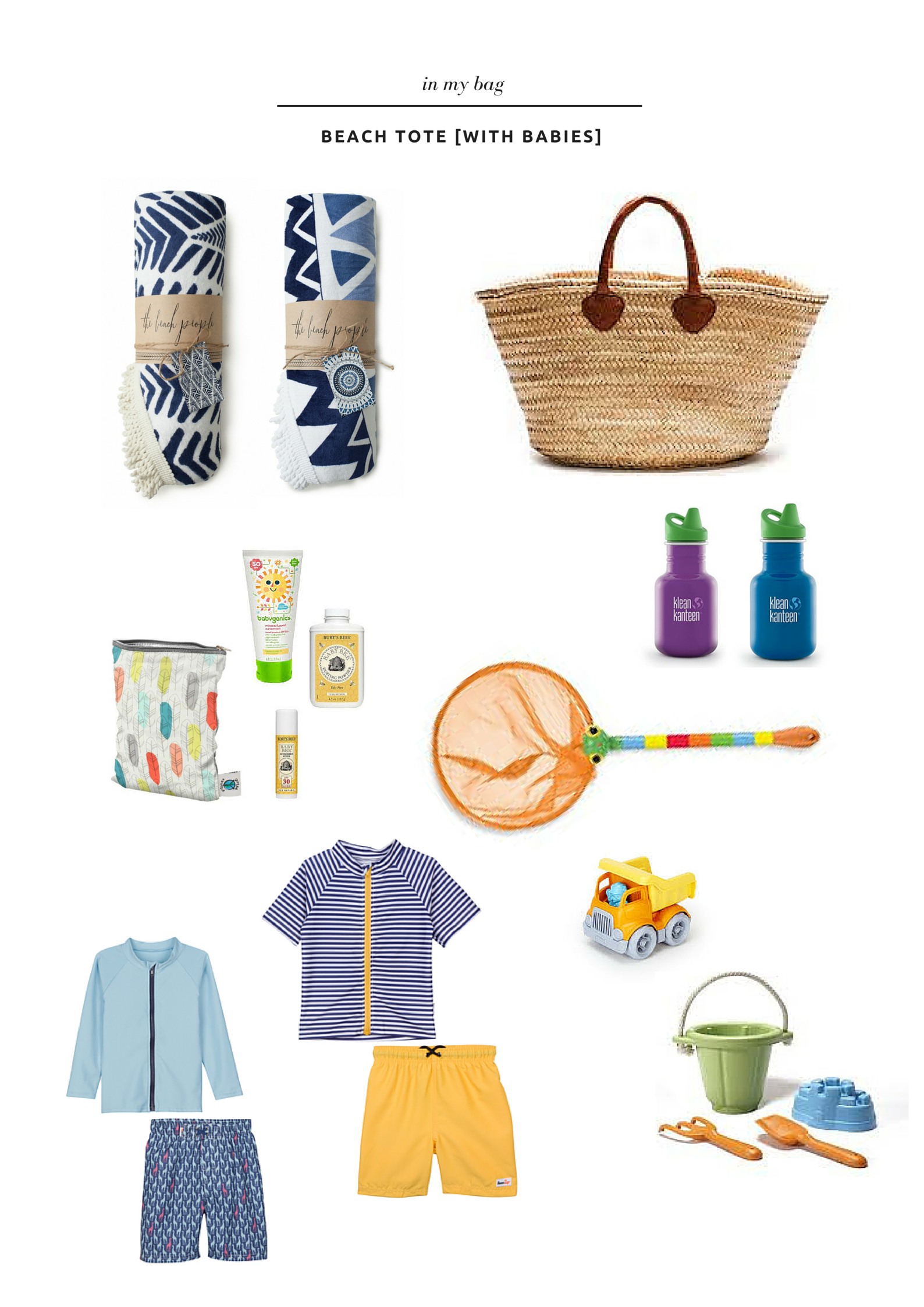 in my bag, a beach tote with babies- thelovelylauralife.com
